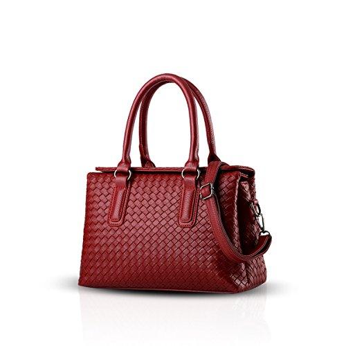 NICOLE&DORIS Grandi coreano signore borsa a spalla sacchetto tessuto nuovo stile fashion grande borsa Tutto-fiammifero delle donne(Silver) vin rouge