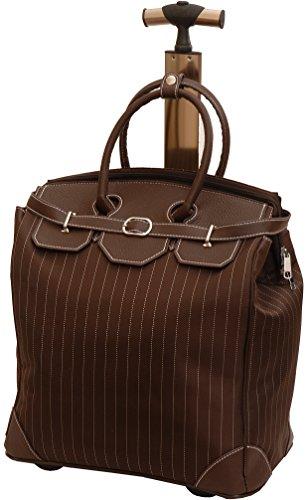 Italienisches Design Damen Tasche/Stilvoller Business Trolley mit ausziehbarem Griff/Damen Reise-Tasche mit Rollen und Tragegriff/Handgepäck 40x27x46cm (Nadelstreifen Braun)