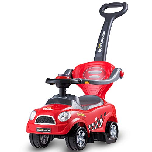 COSTWAY 3 in 1 Ride on Push Car, with Horn Sound, Parent Handle Push Bar, Premium 4 Wheels, Upgrade Safety Barrier, Storage Compartment, Convertible Baby Stroller for Toddler (Red)