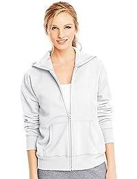 Hanes ComfortSoft EcoSmart Women's Full-Zip Hoodie Sweatshirt_White_2XL
