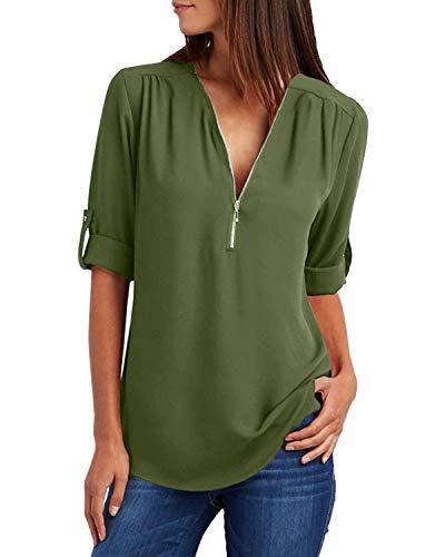 YOINS Sexy Oberteil Damen Sommer Elegante Langarmshirts Damen Bluse Tunika Frühling T-Shirt V-Ausschnitt Tops - Sexy Arme