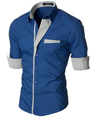 MODERNO - Slim Fit Langarm Herrenmode Herren Hemd (VGDS41LS) VGDS41LS-Blau