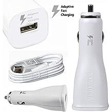 Color Blanco Samsung cargador rápido de coche para Samsung Galaxy S6/S6 Edge/Galaxy Note 4/Galaxy Note 5 con Cable USB