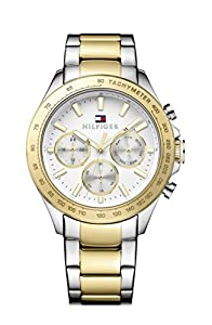Tommy Hilfiger HUDSON-Reloj con mecanismo de cuarzo para hombre color blanco esfera analógica pantalla y pulsera de acero inoxidable de color amarillo 1791226