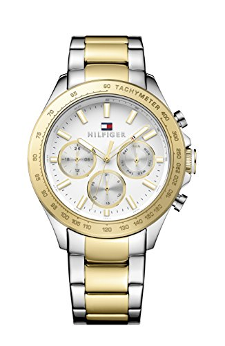tommy-hilfiger-hudson-mens-quartz-watch-with-white-dial-analogue-display-and-yellow-stainless-steel-