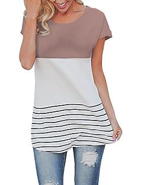 Butterme Las Mujeres de Moda de Manga Corta Suelta Top Casual Rayas Camiseta Blusas de Las Mujeres(Café,M)
