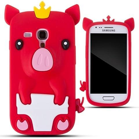 Zooky® rouge porcin silicone Coque / Étui / Cover pour Samsung Galaxy S3 MINI (I8190)