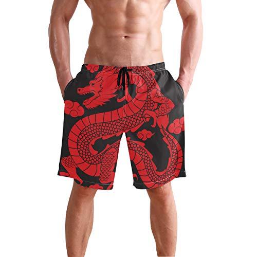 LORONA - Bañador Tradicional Chino con diseño de dragón con Silueta para Hombre Multicolor Multicolor...