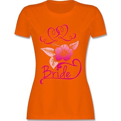 JGA Junggesellinnenabschied - Bride Blumen pink - tailliertes Premium T-Shirt mit Rundhalsausschnitt für Damen Orange