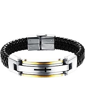 Oidea Herren Armband, modische handgefertigt Manschette Kordelkette Lederband mit poliert Kreuz Link Handgelenk...