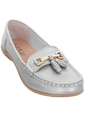 76bdf9e75f0 Ladies Leather Slip On Moccasins Comfortable Flat Tassel Low Heel Loafer  Shoes  Silver (Metalic)