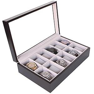 CASE ELEGANCE Uhrenbox aus Massiv Holz – Farbe Espresso – mit Glas-Vitrine für 12 Uhren