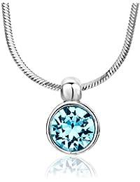 Miore Damen-Halskette mit Anhänger / Funkelnde Kette aus 925 Sterling Silber mit Swarovski Element / Halsschmuck 40 cm lang, Silber
