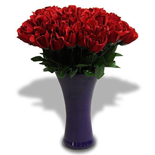 15 x Kunstblume Velourrose Rose Rosen Blume rot 40cm