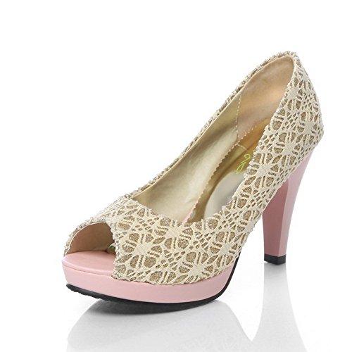 Com De Salto Sandálias Creme De De Cabeça Peixe De Alto Sapatos Alta Mulheres Puxar Voguezone009 Pqx01U6