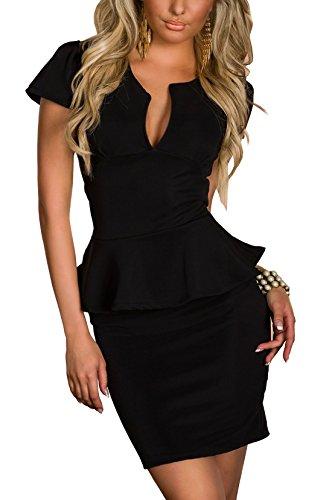 Boliyda verano cuerpopuede Backless Clubwear Vestido corte bajo volante Slim Club Fiesta casual vestido de diario para mujeres Ladies Lady Negro Talla 2XL