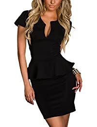 Boliyda Vestito casuale dal vestito da sera basso del ribattino del Bodycan del corpo sottile del ribattino per le donne