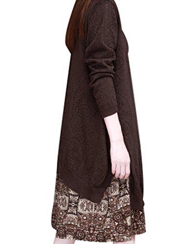 Youlee Donna Collare rotondo Maglione lavorato a maglia Vestito Stile 1 caffè profondo