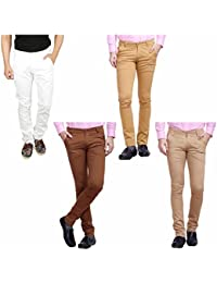 Nimegh White, Brown, Wine And Beige Color Cotton Casual Slim Fit Trouser For Men's (Pack Of 4)