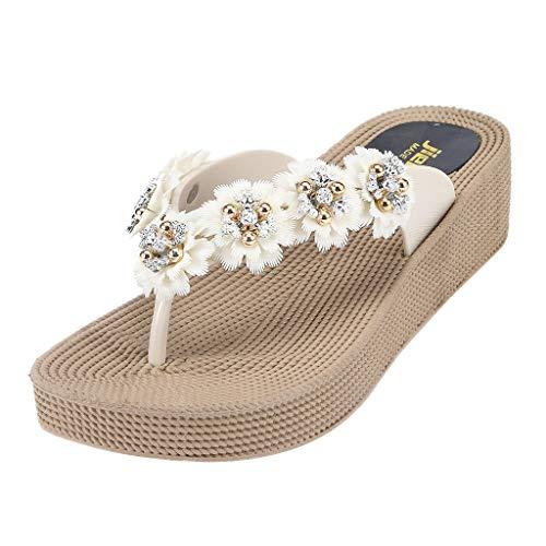 DEELIN Damen Hausschuhe Atmungsaktive leichte Sandalen dicken Sohlen abriebfesten Blumen Flip Flops Zehentrenner