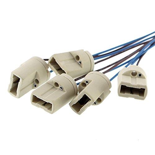 5x Offgridtec® G9 Lampenfassung DVE und UL listed - Mit isol. Kabelzuleitung - Lampensockel Fassung Sockel für LED Halogen CFL