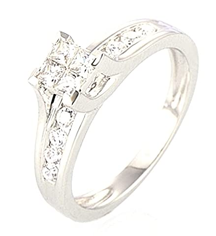 SaySure - Silver Rings Engagement Wedding Ring (SIZE : 6.5)