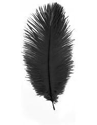 Lot de 3 grandes Plumes d'Autruche Noir véritables, hauteur 20 cm