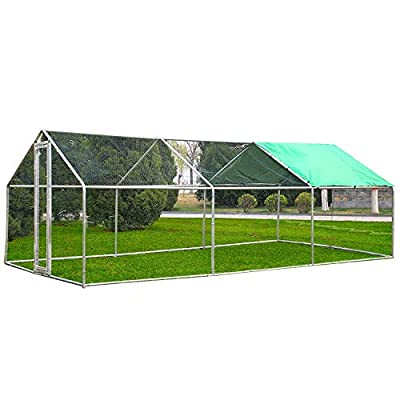 Superworth 6Mx3M Large Metal Chicken Coop Run Walk In Cage For Poultry Rabbit Duck Goose Hen Dog House 2.2 Height Steel Galvanized Frames PVC Coated Hexagonal Wire Mesh With 1 Piece Free Shade Cover by SWBUK