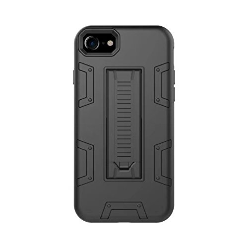 iPhone 8 Hülle, Lantier [Robot Series] Slim Armor Fit Dual Layer Hybrid Protective Case Advanced Shock Absorption Protection High Impact Resistant Hybrid Case with Kickstand für Apple iPhone 8 Schwarz