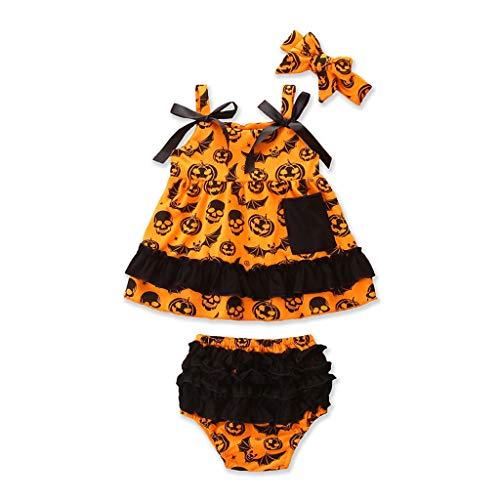 Mädchen Süße Wirklich Kostüm - DOLLAYOU Babykleidung Set Halloween Kleid Ohne ärmel Kürbis Teufel Fledermäuse + Shorts + Haarreif Süß Kostüm Mädchen 0-3 Jahre
