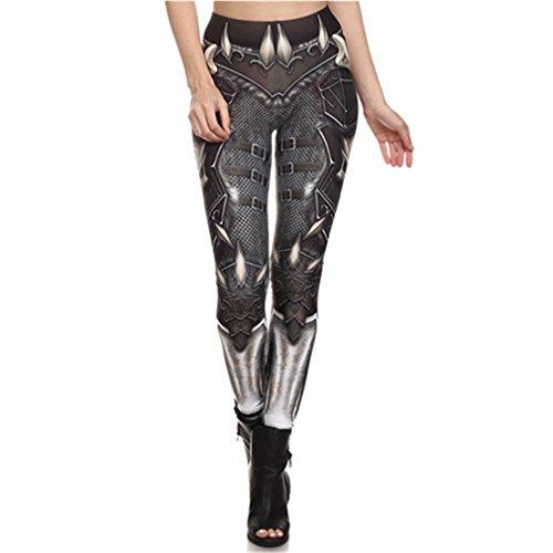 URY&FF Steampunk Mujer Pantalón Leggins Cintura Alta Gear Gear 3D Imprimir Polainas para Mujeres KDK1627 S