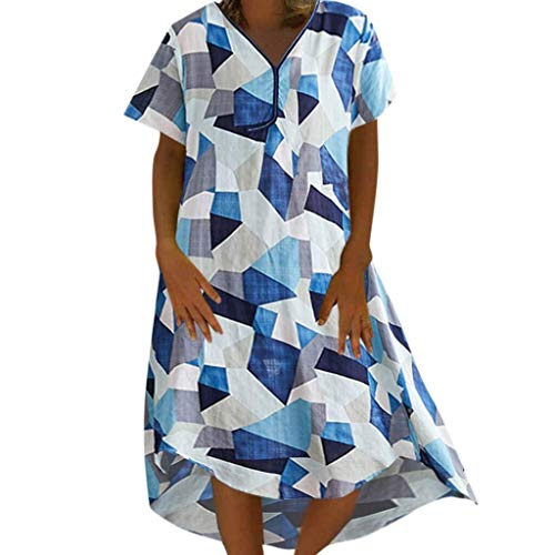 Go First Frauen Geometric Print Casual V-Ausschnitt Kurzarm Kleid Print Cotton Linen Loose Irregular Dress (Color : Blau, Size : M) (Junioren Für Tier-print-kleider)