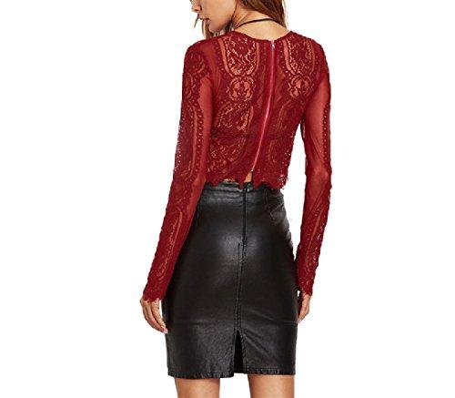 ANDYOU-Women Damen short lace sheer sexy langarm-tunika-t-shirt tops US X-Small=China Small Rot -
