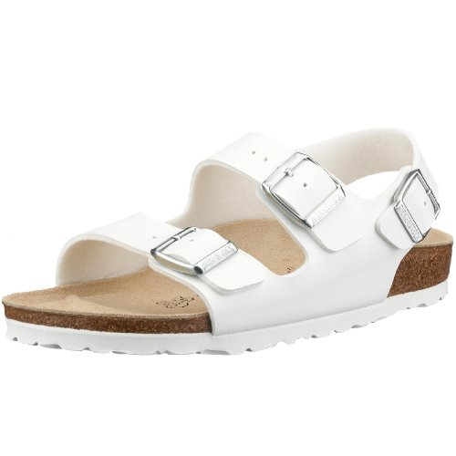 Birkenstock classic milano birko-flor softfootbed - sandali unisex - adulto, bianco (weiss), 41 (normale)