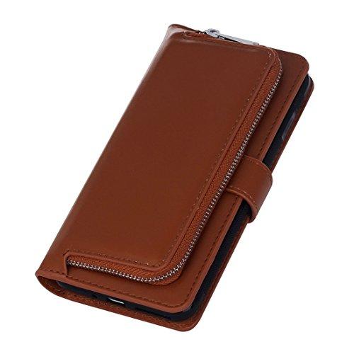 Hülle für iPhone 7 plus , Schutzhülle Für iPhone 7 Plus Plain Weave Texture Zipper Horizontale Flip Leder Tasche mit abnehmbarem Rücken Schutzhülle & Card Slots & Wallet ,hülle für iPhone 7 plus , cas Brown