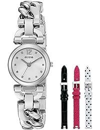 Guess Mujer u0712l1femenino reloj de acero con soporte de metal pulsera plateado y 3intercambiables correas de cuero dentro de un Bonus estuche de viaje