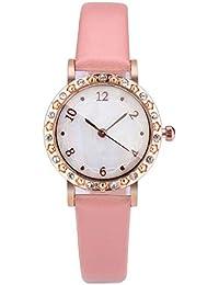Lomsarsh Moda Reloj de Cuarzo Shell Dial Diamante incrustado Vidrio Convexo Temperamento Simple Reloj para Dama