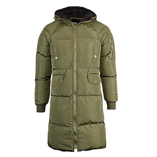 wollmantel Mittlerer Langer Mantel Warme Winter Outwear Kapuzenpullover(Armygrün,CN 3XL) ()