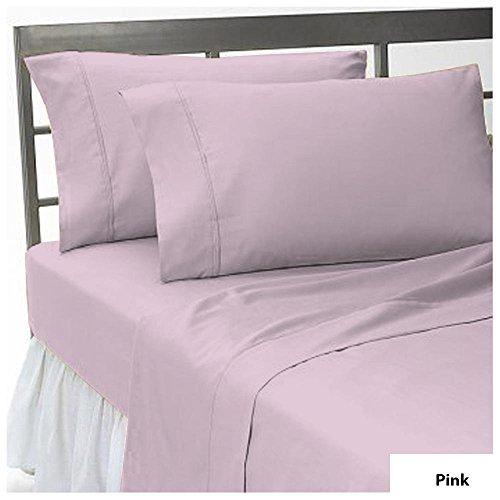 Noble Comfort Linen Super Soft 400 Thread Count 1 Stück Flachbett UK Einzelgröße mit New Pink Farbe und Solid Muster, 100% ägyptische Baumwolle - Luxuriöse 400 Thread