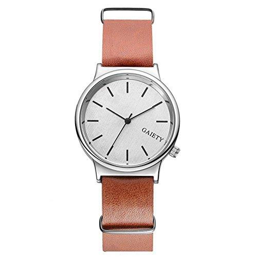 Sonew Männer Uhren Luxus Klassische Lederband Herren Analog Quarz Armbanduhren Casual Business Einfache Design Mode(Brown)