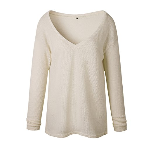 Femme Automne-Hiver Casual Col V Pull En Maille Pulls Chandails à Manches Longues T-shirts Sweater Jumper Tops Tricots Abricot