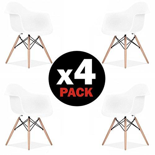 Due-home (Suecia) - Pack 4 sillas tower Blanca y madera Haya, sillas...