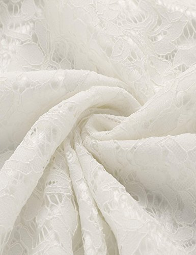 Meaneor Robe D'Été Casual Dentelle Creux Col-O Manche 3/4 A-Line Plissé Robe Uni Blanc