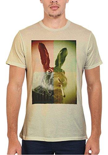 Smoking Weed Rabbit High Funny Men Women Damen Herren Unisex Top T Shirt Sand(Cream)