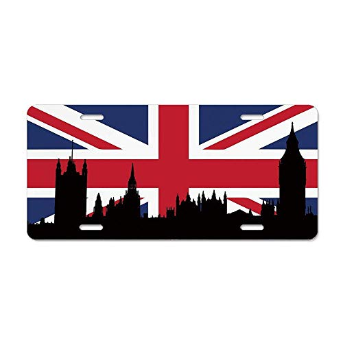 Ganheuze Union Jack,Houses of The Parliament Silhouette on UK Flag Historic Urban Skyline,Royal Blue Black Red Novelty License Plates Custom Decorative Front Plate Cover for US Vehicles, 12 x 6 Inch -