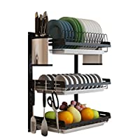 Dish Drainer with Drip Tray, GODNECE 2 Tier Wall Mounted Dish Drainer Dish Drainer Rack Holder Kitchen Cutlery Storage Rack with Drainboard
