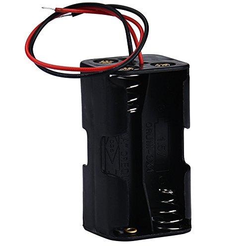 Deng Xuna Hot 2-Slot 4 x AA-Batterie Rücken an Akku Aufbewahrungsbox Halter Fall Box Storage mit Draht führt (Schwarz) -