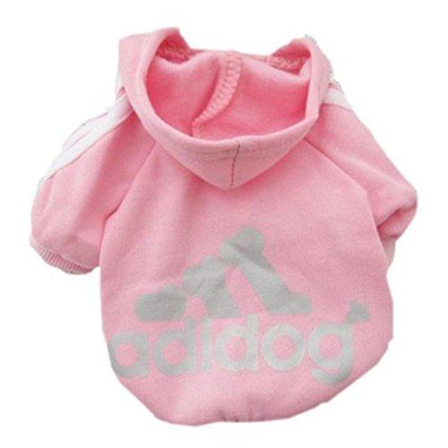 Techrace Adidog HundeKleidung Warm Hoodies Mantel Hundejacke Hündchen Pullover Mantel Haustier Welpen T-Shirt - Rosa, XS