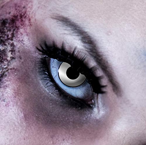 Billig Einfach Halloween Kostüm - 3-Monatslinsen WHITE MANSON, weiße Zombie Kontaktlinsen, Crazy Funlinsen, Halloween, Fastnacht, weiß ...