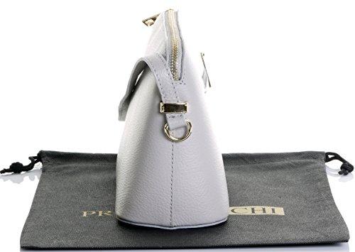 Italienische strukturiertem Leder kleine dreieckige Nackenband mit Halterung Schulter oder als Crossbody-Bag.Umfasst eine Marke schützenden Aufbewahrungstasche Hellgrau